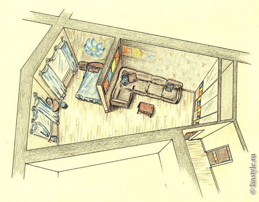 Дизайн комнаты с нестандартной планировкой