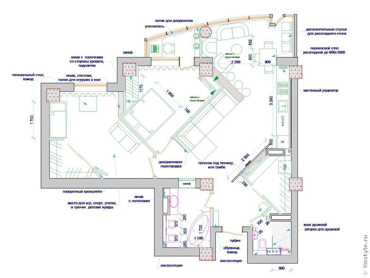 Планировка дизайн 3-х комнатной квартиры